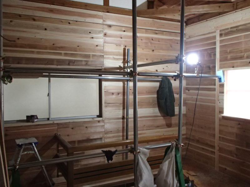 杉板の内装となりました(我が家の北東箇所)