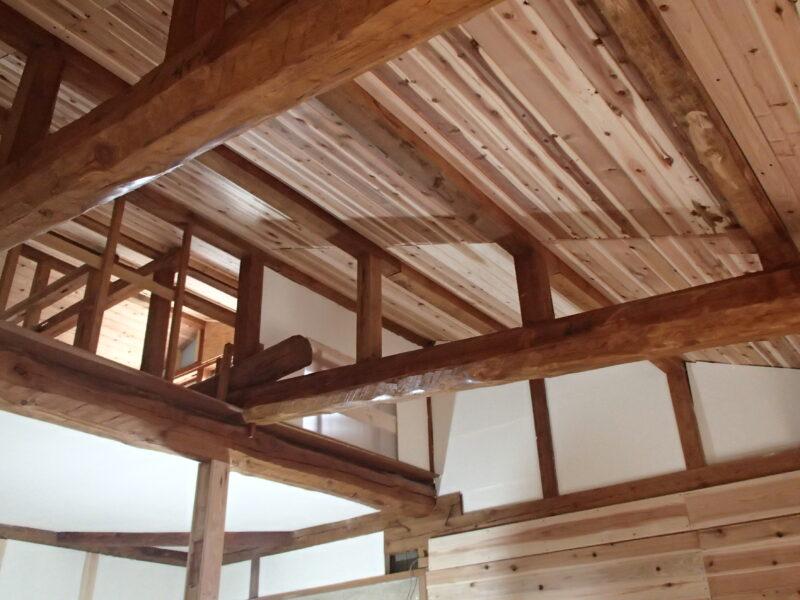 塗装後の天井を見上げる